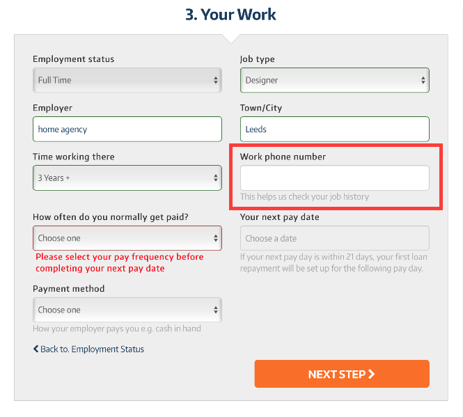 image showing a form with a text input field asking for work phone number with message that this helps us check your job history